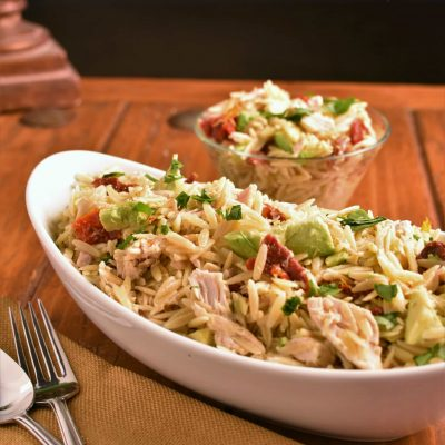 Chicken Orzo with Avocado and Sun Dried Tomatoes