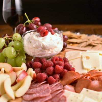 Meat and Cheese Platter with Fruit (and dip)