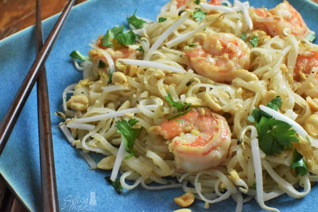 Authentic Pad Thai Recipe Overhead with watermark