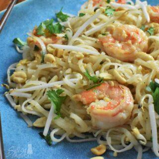 Authentic Pad Thai Recipe Overhead with watermark