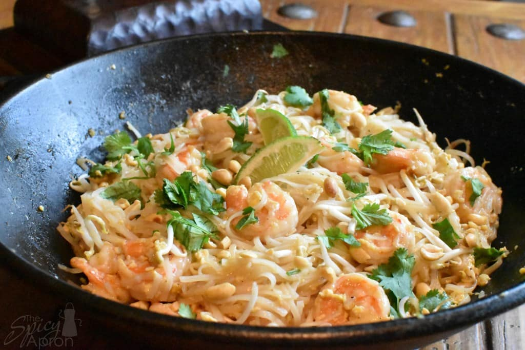 Authentic Pad Thai Recipe in Wok with Watermark