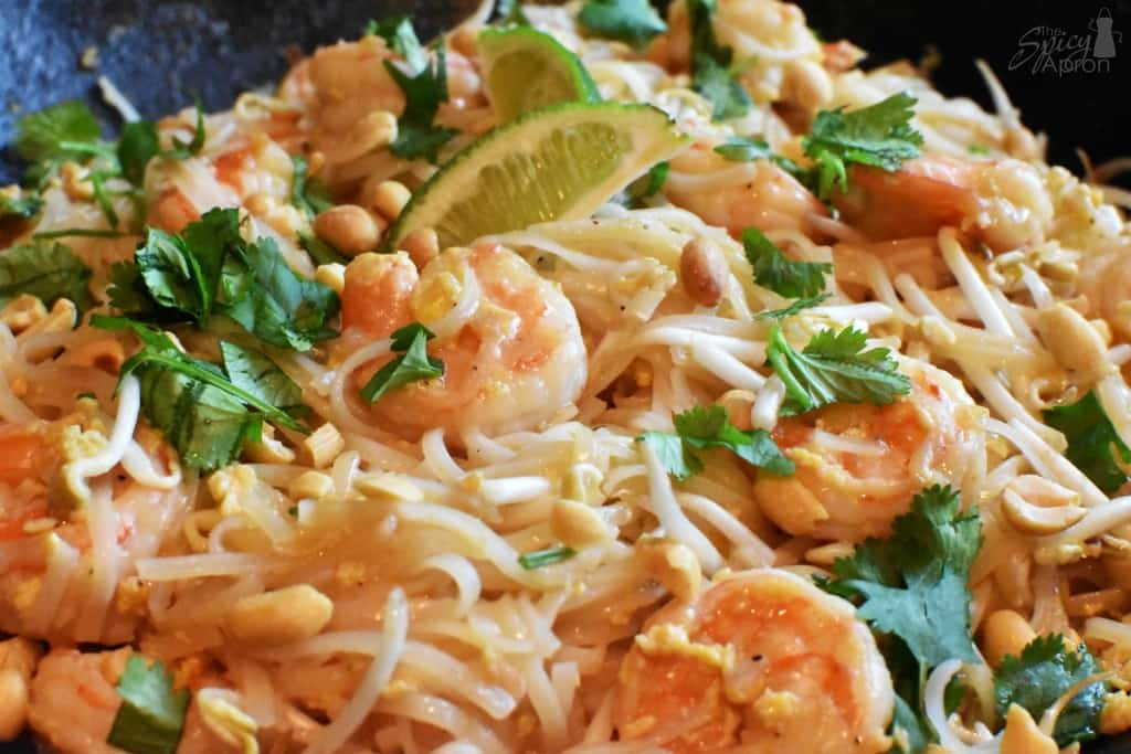 Authentic Pad Thai Recipe with Shrimp Closeup with watermark