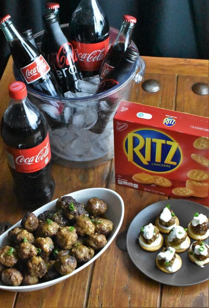 Cocktail Meatballs Overhead Vertical Coca-Cola RITZ