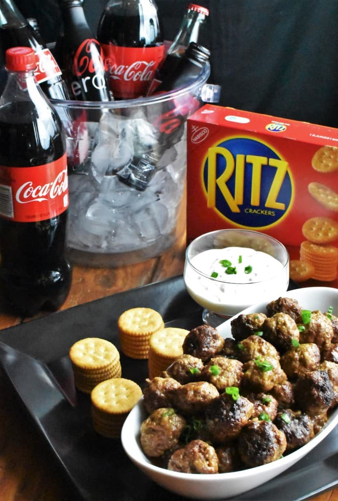 Cocktail Meatballs with a stack of RITZ