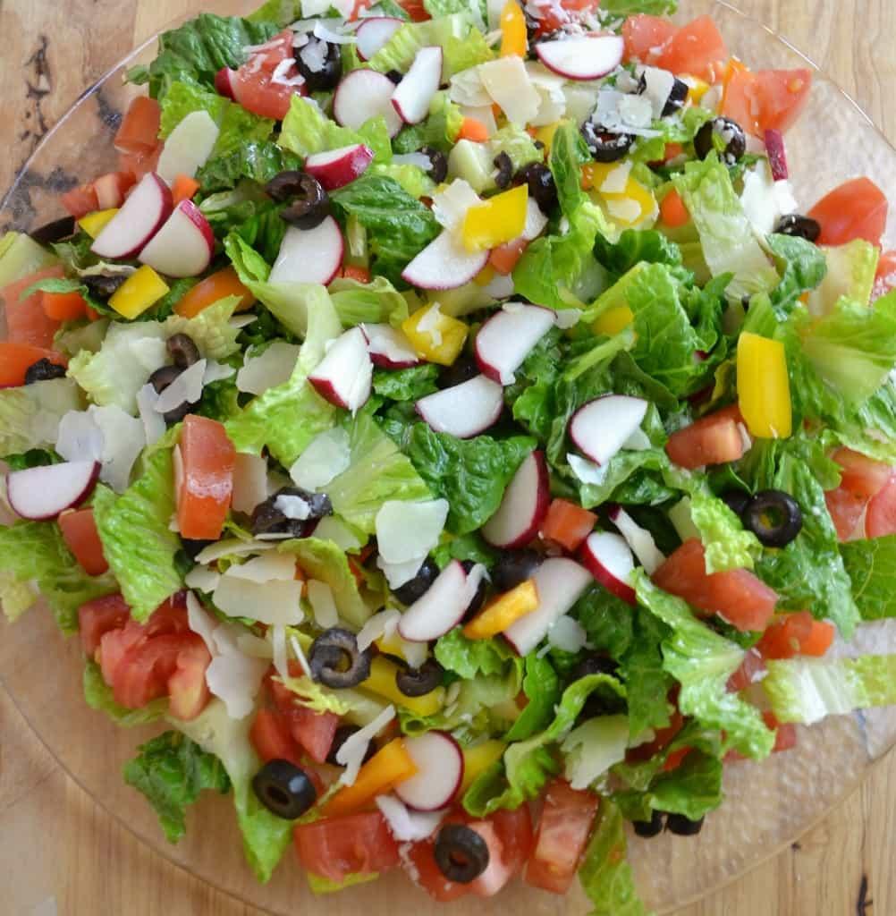 Green Salad Overhead Closeup