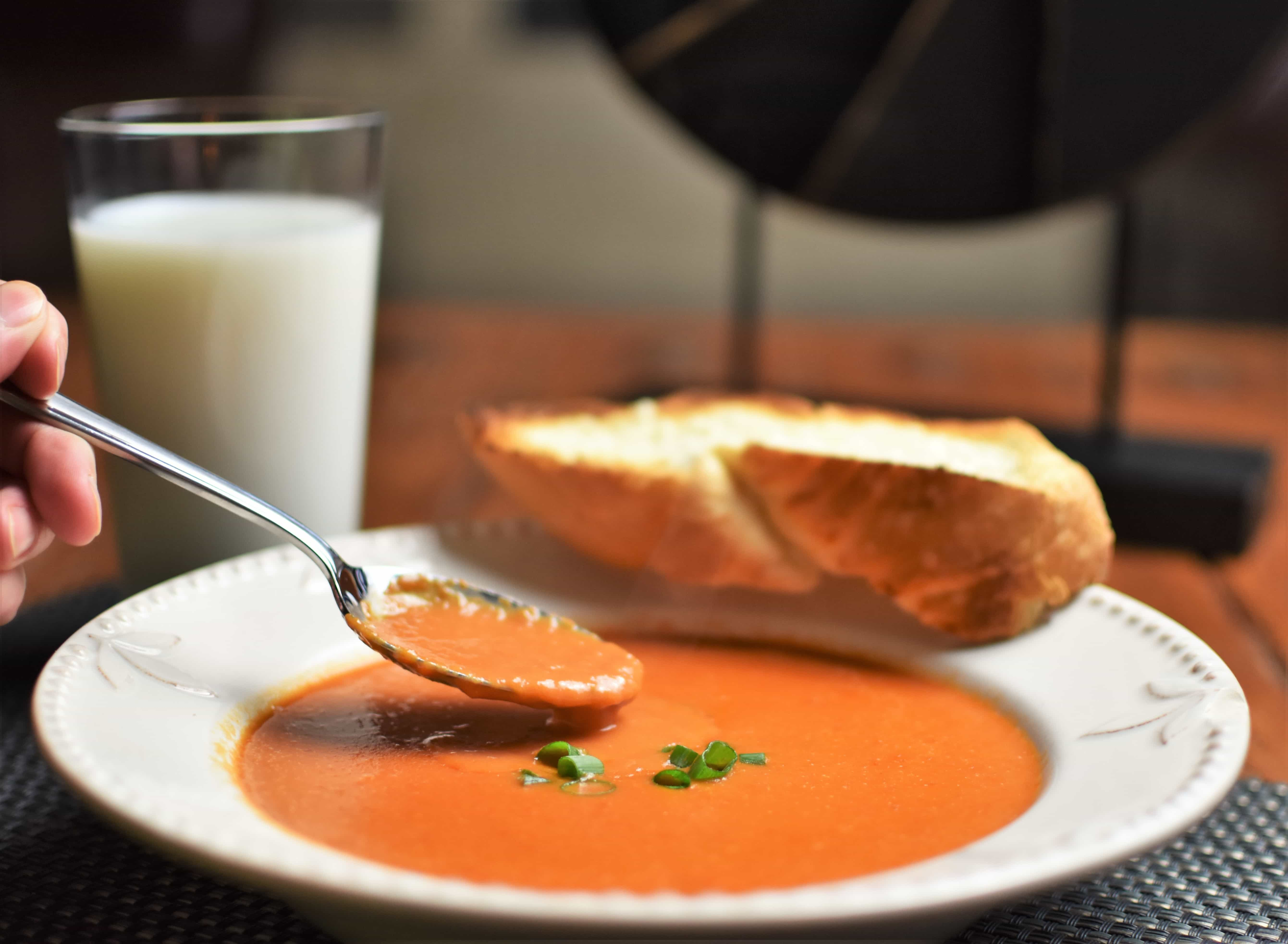 Creamy Tomato Soup with Spoon