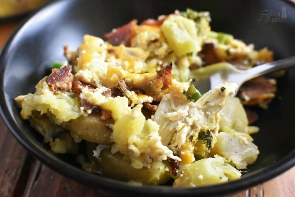 Loaded Baked Potato Casserole Bowl with watermark