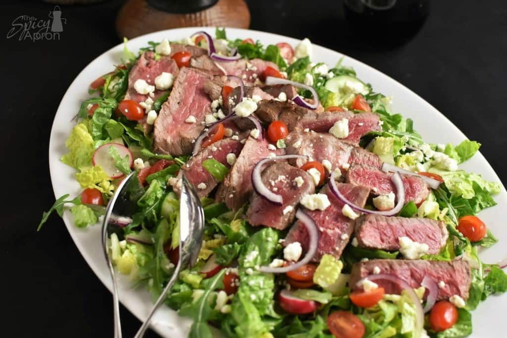 Steak Salad Close Up Overhead with watermark