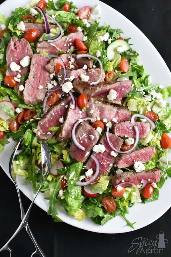 Steak Salad Overhead with watermark
