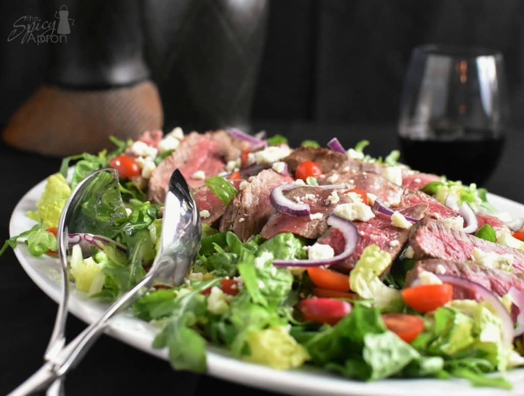 Steak Salad With Wineglass with watermark