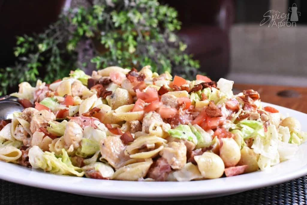 BLT Pasta Salad front very close with watermark