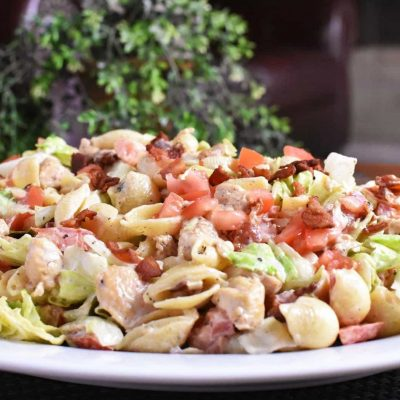 BLT Pasta Salad front very close with watermark For Music Festival Essentials