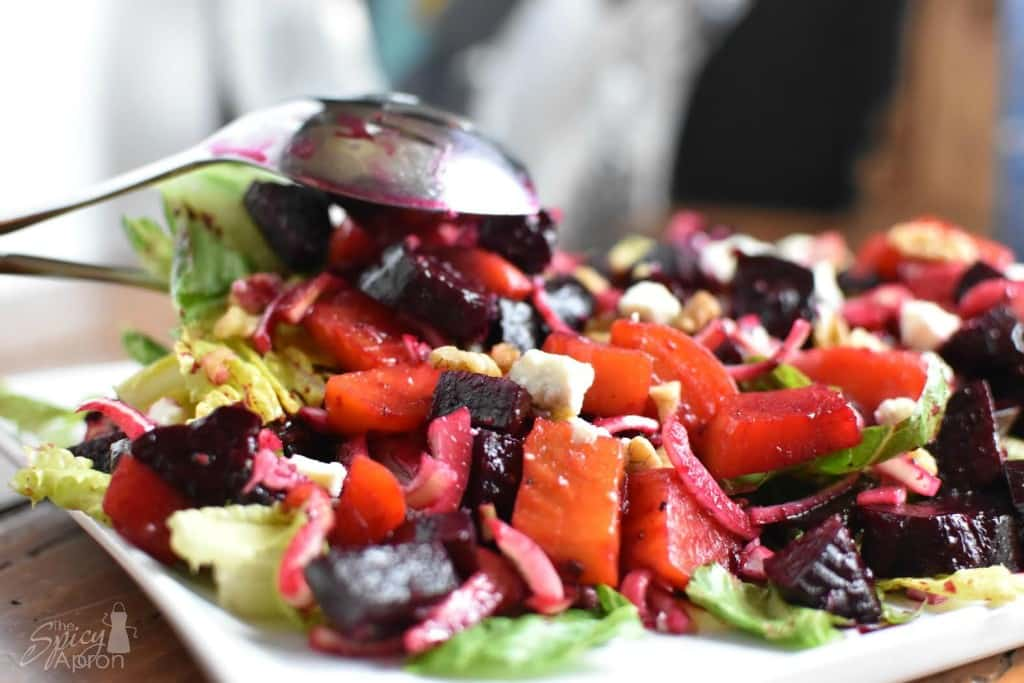 Roasted Beet Salad Action with watermark