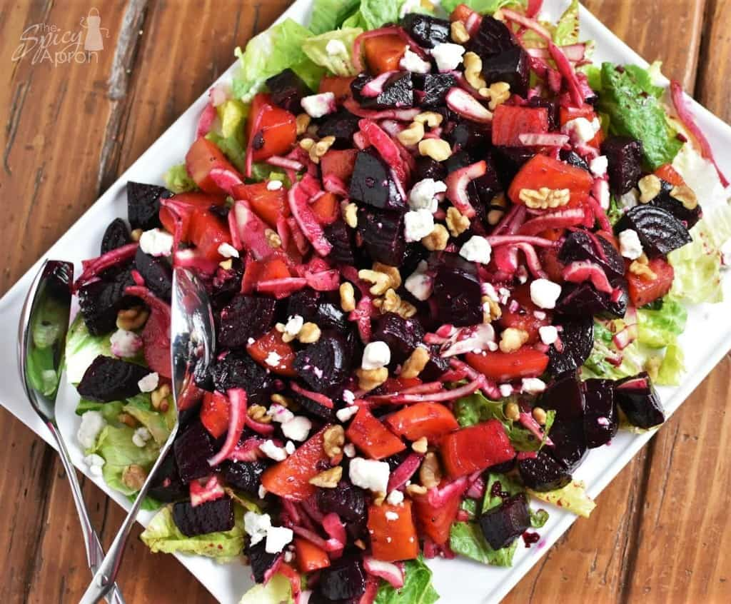 Roasted Beet Salad Overhead with watermark
