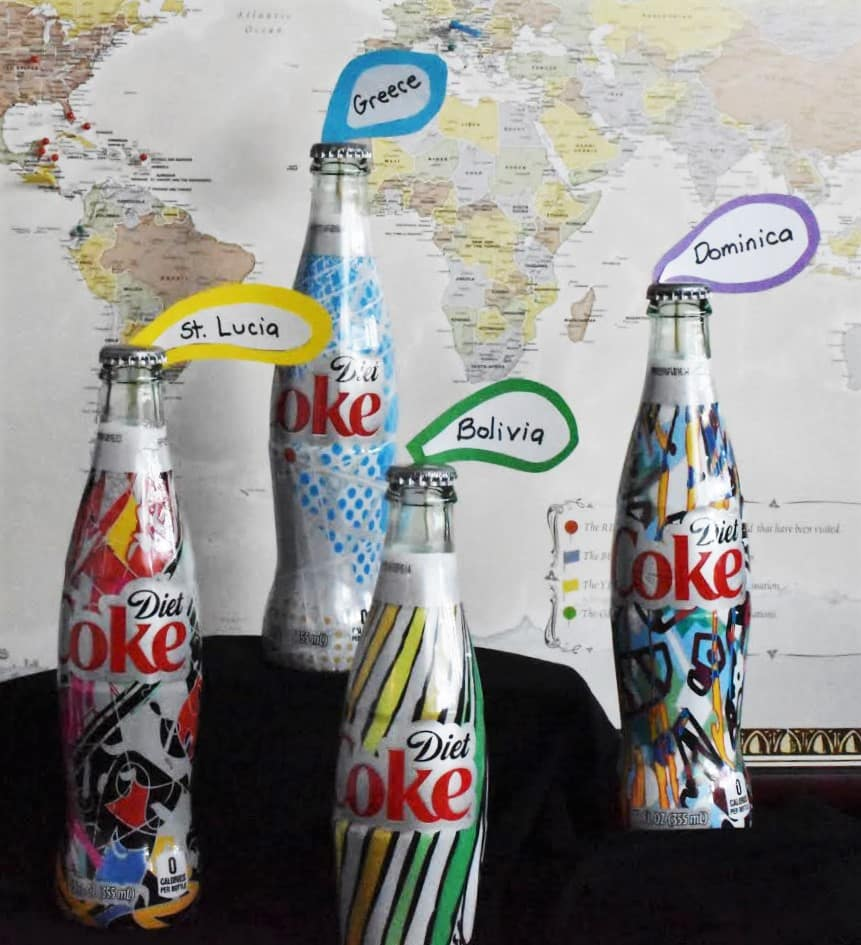Travel Inspiration Diet Coke Map close Up.