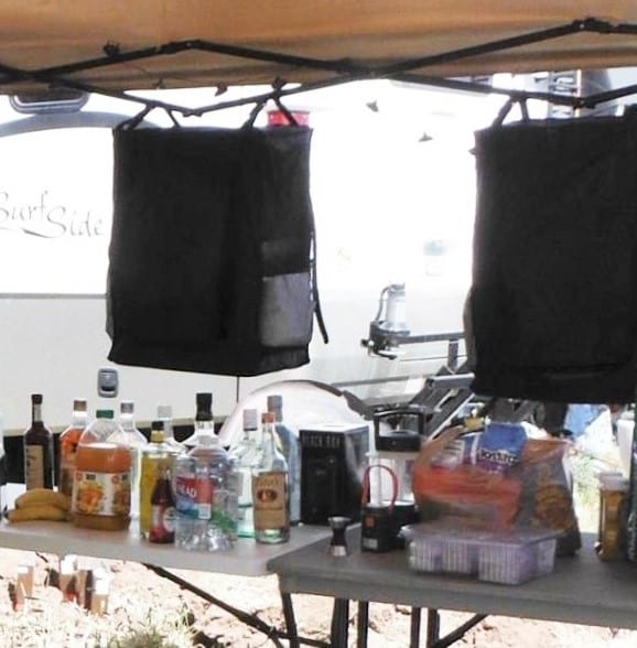 Camp Set up Close Up Alcohol Near Coolers