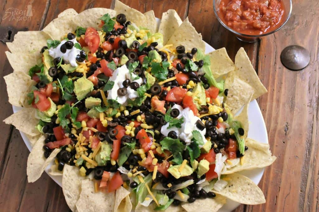 Taco Salad for a Crowd Overhead with watermark