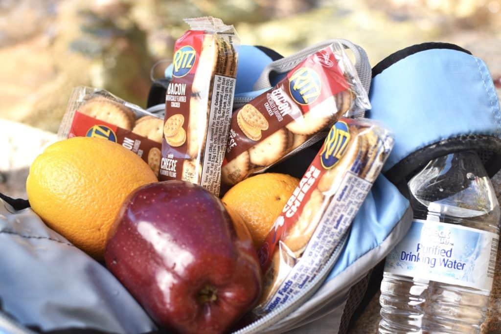 Backpack full of camping snacks