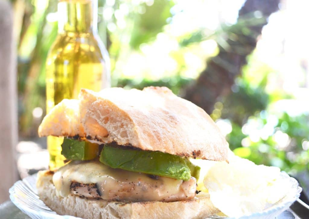 Grilled Chicken Sandwich Recipe Close Up with Beer