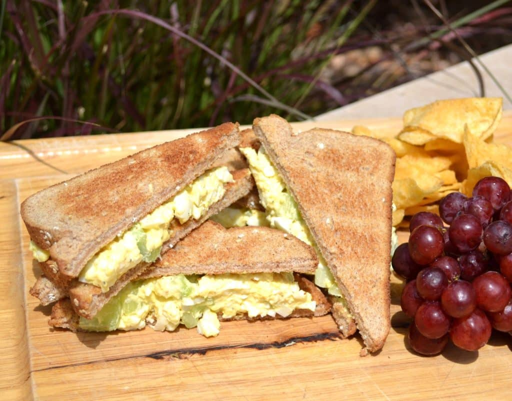 Camping Food Ideas Egg Salad Stacked Bright