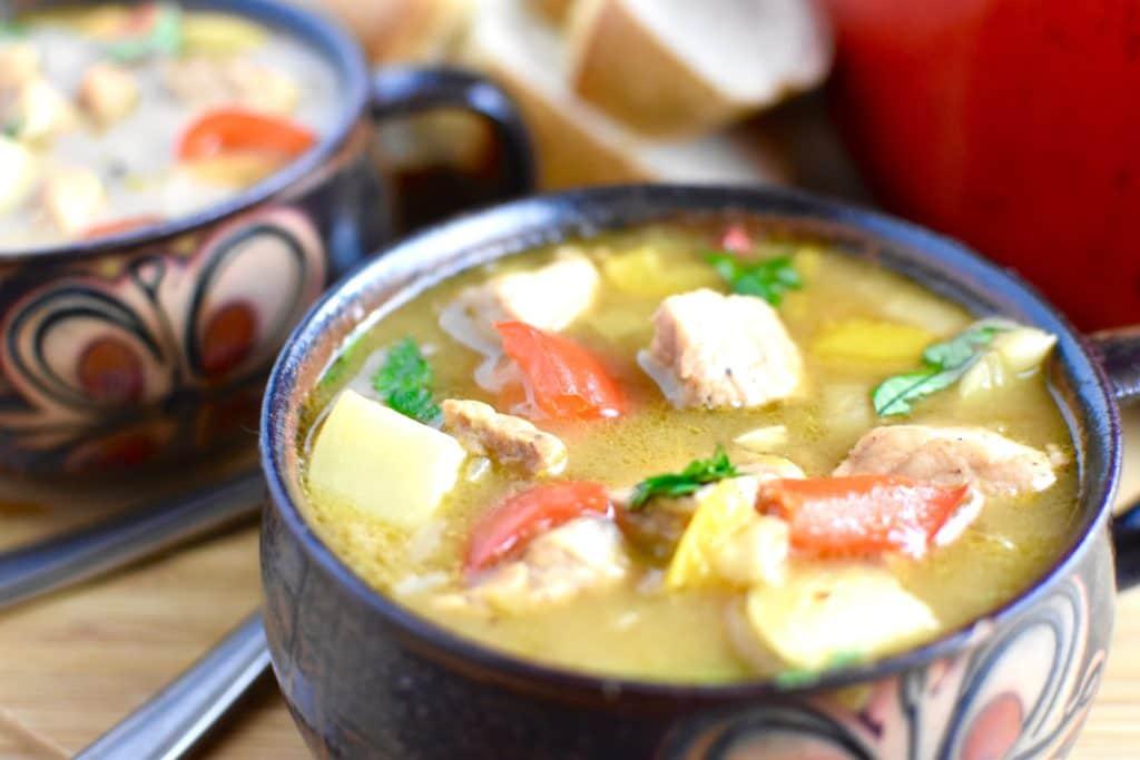 camping dinner pork stew one bowl