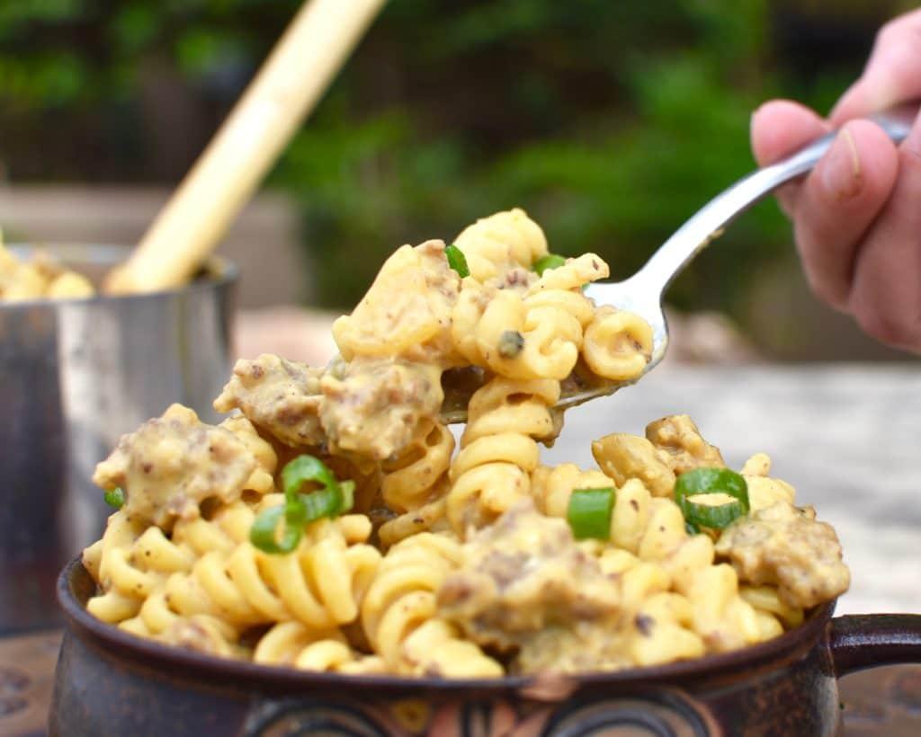 sausage pumpkin pasta spoon