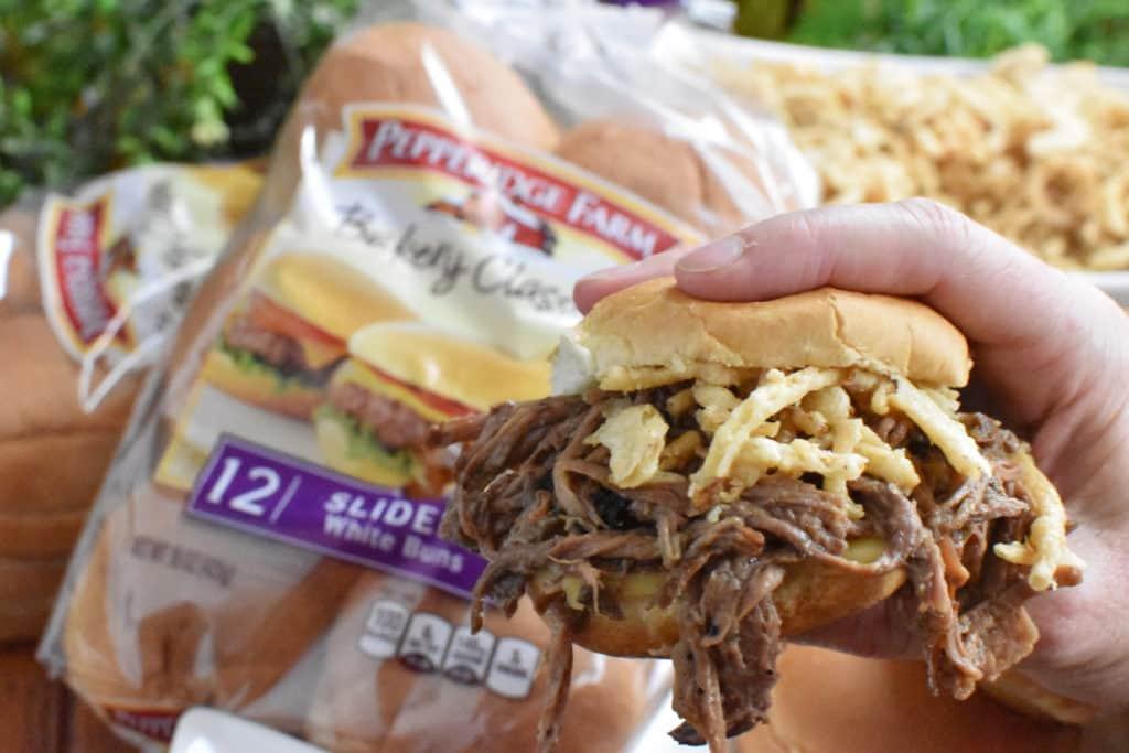 Beef Sliders Sandwich Close Up