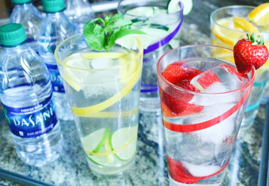 Hydration Dasani Water in fruit glasses e