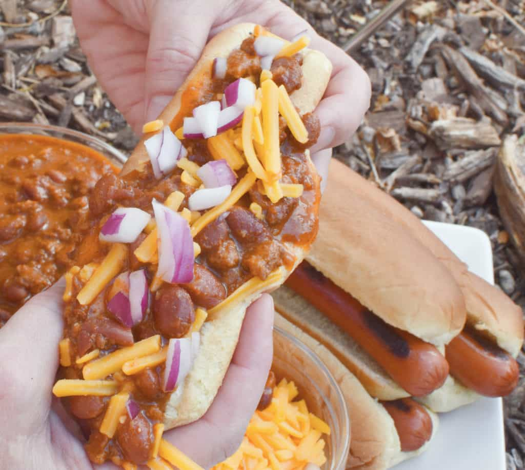 Chili Dog in Hands