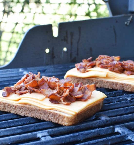 Bacon Grilled Cheese Making on Grill