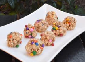 no bake energy balls lined on plate