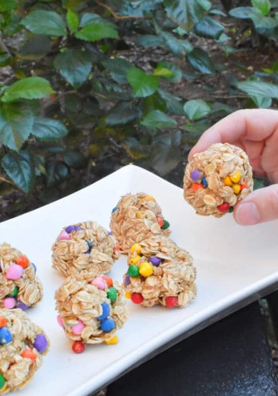 no bake energy balls one in hand