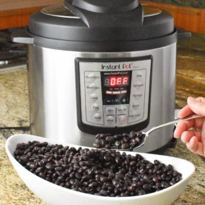 Instant Pot Beans Final in Bowl with fork