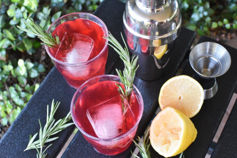 Cocktails with Cranberry juice overhead whiskey sour
