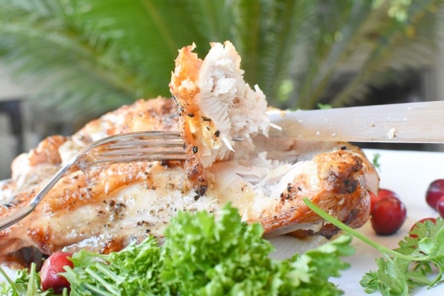 Bone in Turkey Breast Recipe Close Up Horizontal Cutting Turkey