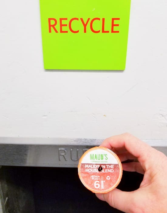 Recyclable K Cups Going Into Recycle Bin