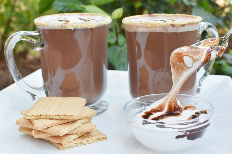 smores hot chocolate close up with spoon