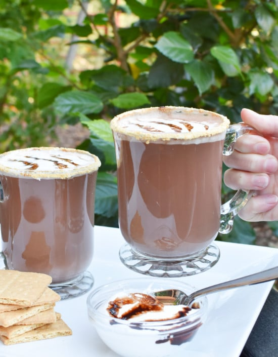 smores hot chocolate in hand vertical