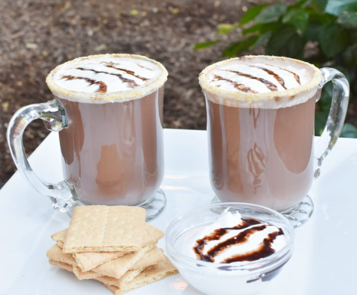 smores hot chocolate two mugs