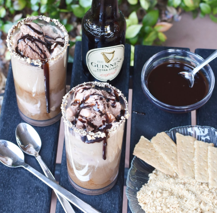 Guinness s'mores ice cream float overhead square