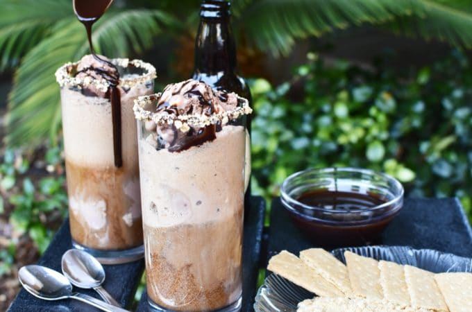 Guinness s'mores ice cream float with chocolate spoon