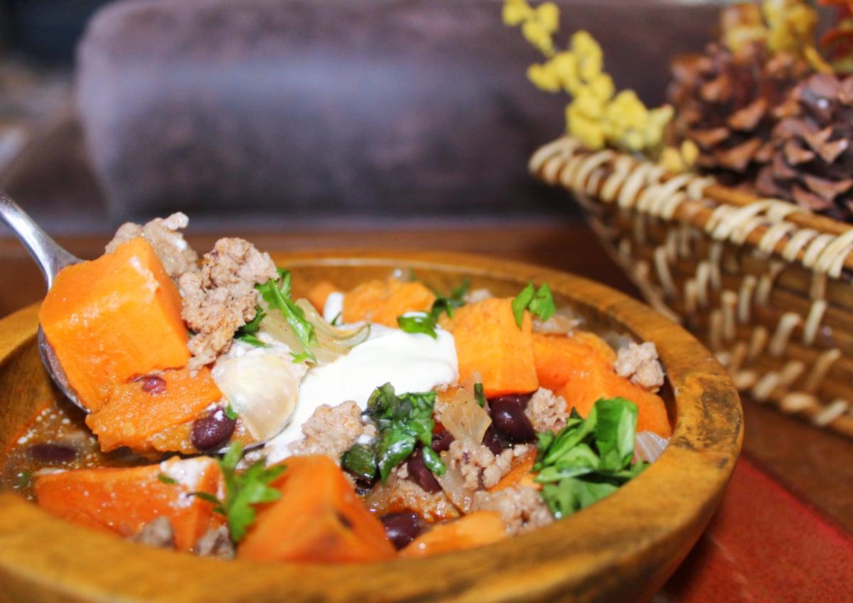 Instant Pot Sweet Potato Chili with Ground Turkey