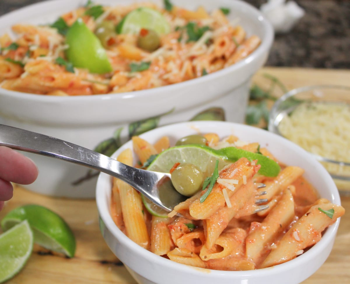 Bloody Mary Vodka Sauce In Bowl with fork