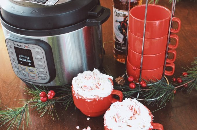 Peppermint Mocha Latte Spiked Instant Pot with cups