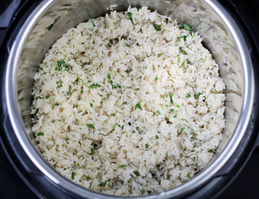 Pressure Cooker Rice Cilantro Lime in Pot