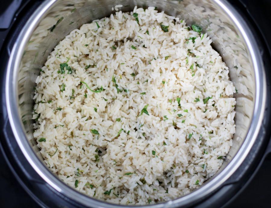 Pressure Cooker Rice Cilantro Lime in Pot