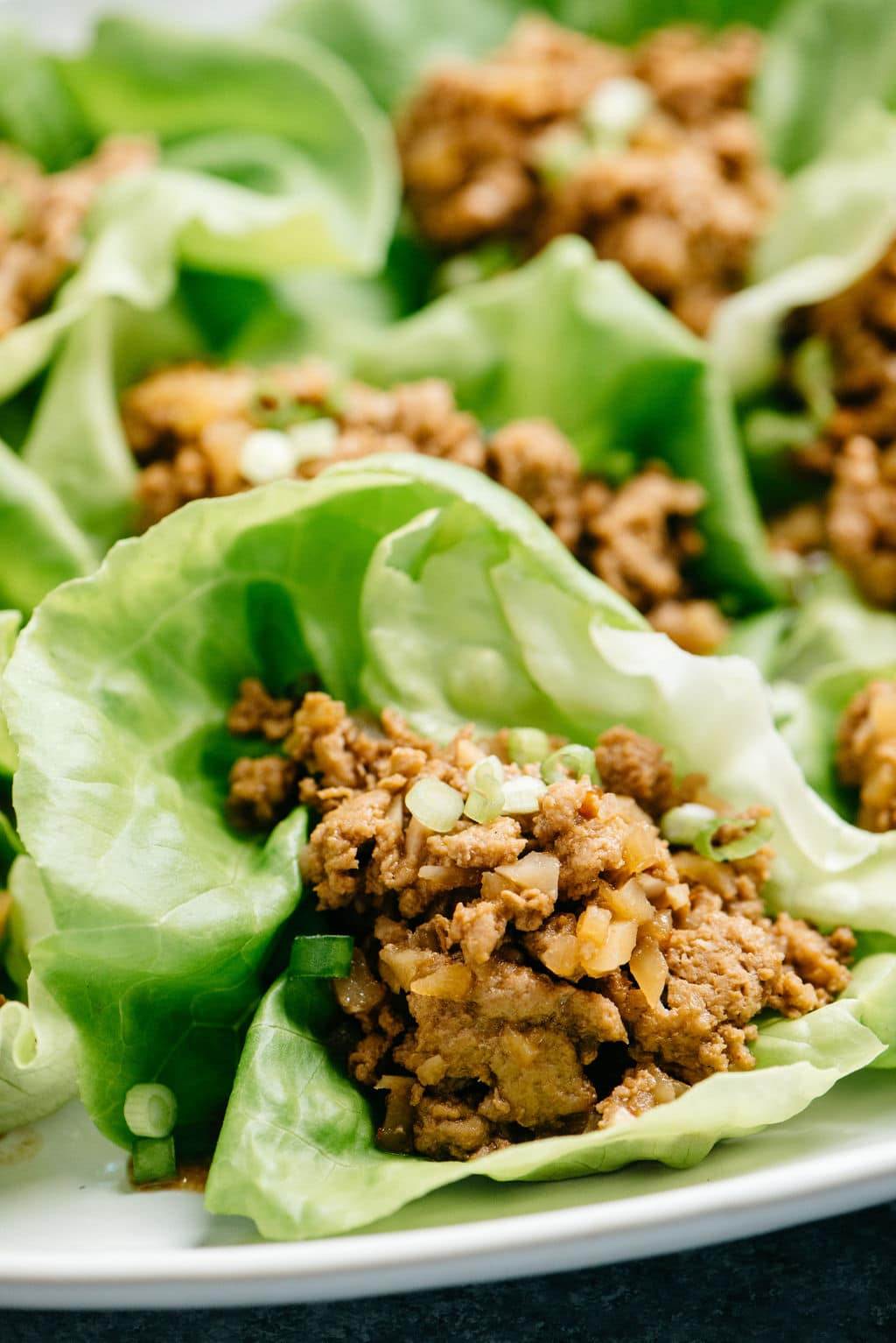 Close up lettuce wraps with instant pot ground turkey