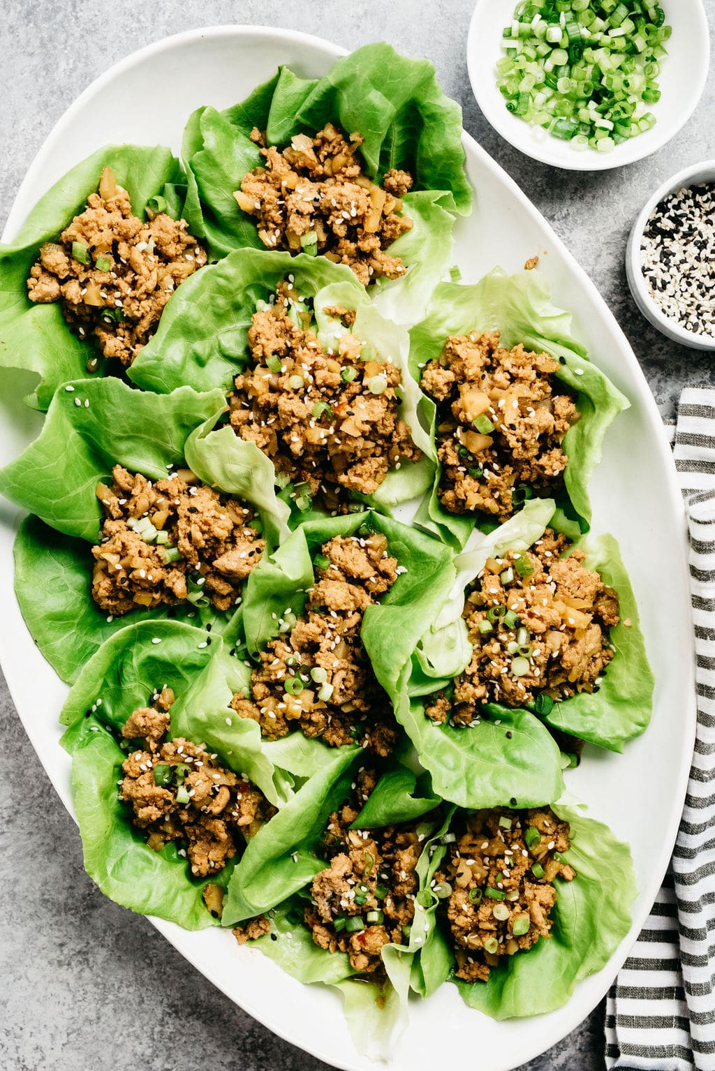 Instant Pot Ground turkey lettuce wraps overhead vertial on platter