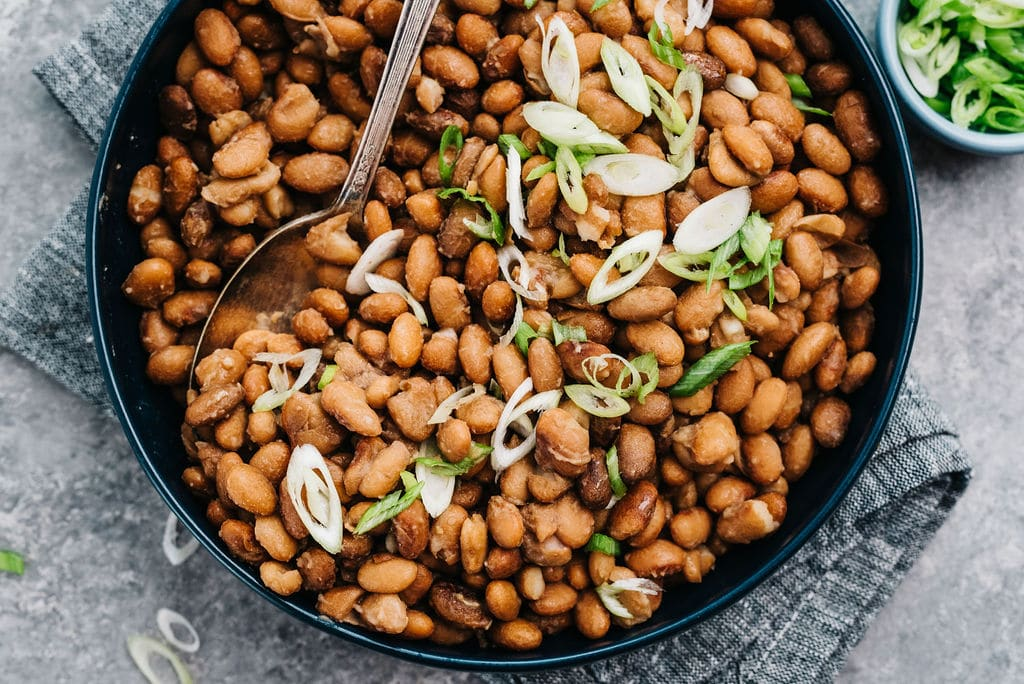 Instant Pot Pinto Beans overhead in bowl