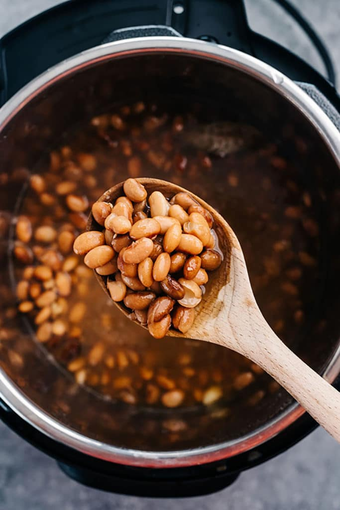 Instant Pot beans overhead in spoon